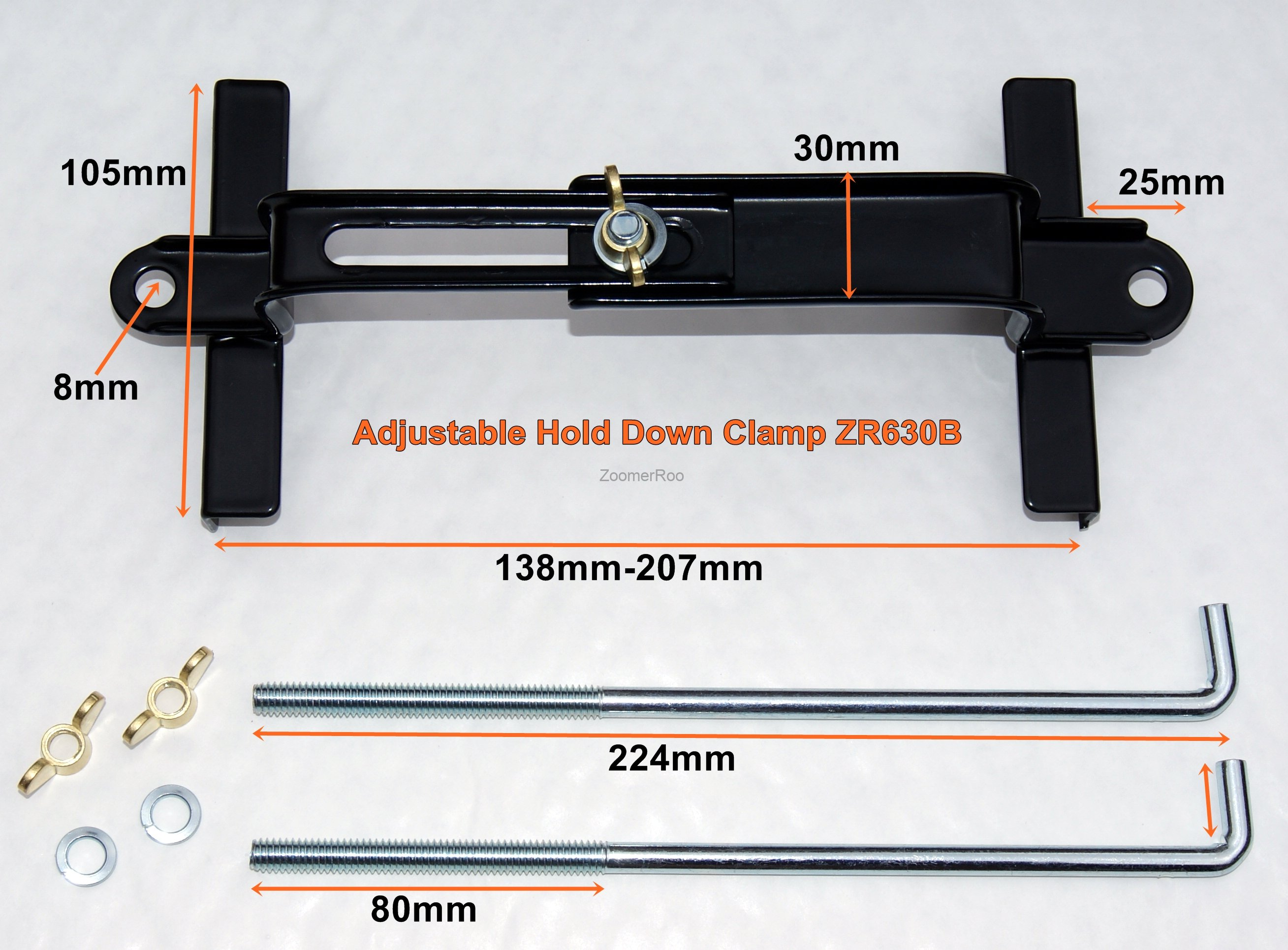 Battery Hold Down : Zoomerroo battery tray hold down clamp kit